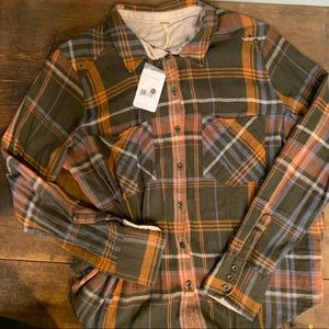 NWT Free People Army Combo Flannel Large